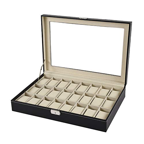 Price comparison product image Watch Box 12 Slot & 24 Slot available, Buybuybuy Leather Display Case Organizer Top Glass Jewelry Storage Black (24 Slot)