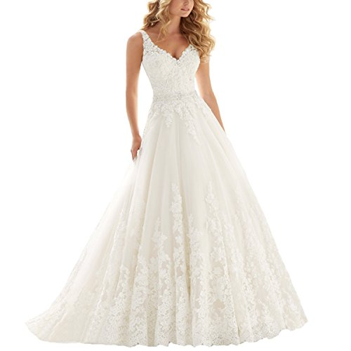 OWMAN Lace V Neck Wedding Dress Beaded Bridal Dresses Appliques Straps Wedding Gown(Ivory
