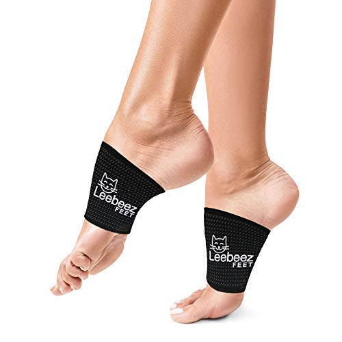 Arch Support Sleeve for Plantar Fasciitis by Leebeez -Compression and Copper Foot Brace -Pain Relief for Men Women Children with Flat Feet High or Low Arches Heel Pain -for Socks Shoes -Black Medium