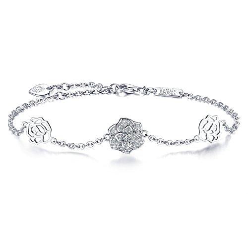 Billie Bijoux Womens 925 Sterling Silver Diamond Rose Flower Love Symbol Charm Adjustable Bracelet for Women Girls White Gold Plated