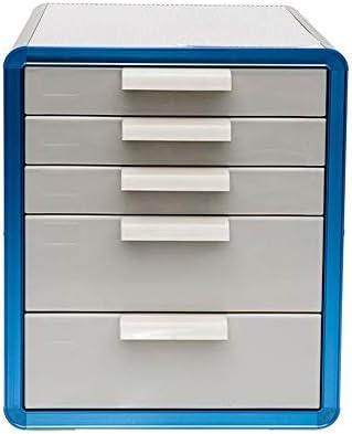 Asffdhley Desktop File Drawer Unit 5 Desktop-Multidrawer Speicherschrank Schreibtisch-Organisator Bürozubehör Desktop-Küche Kosmetik Supplies (Color : Blue, Size : 28.6x34.6x33.8cm)