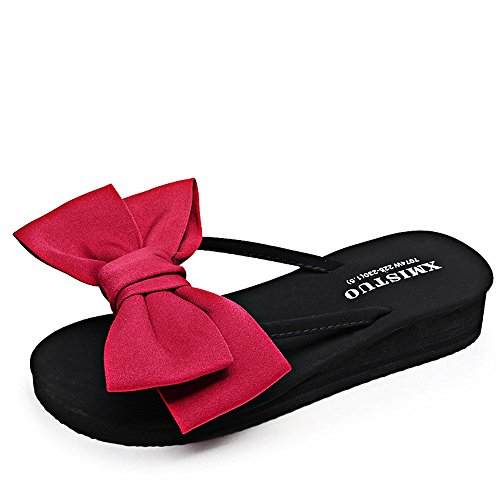 Chanclas MEIDUO sandalias Sandalias/deslizadores de las mujeres de los deslizadores de la manera del verano (rojo/negro/azul marino/color de rosa/amarillo/azul claro) cómodo Rojo