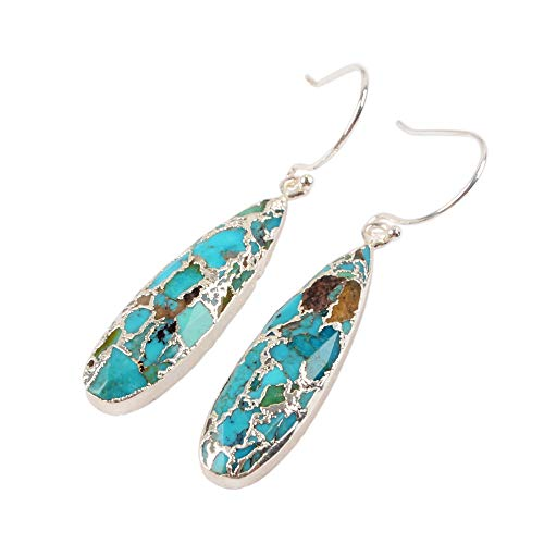 (ZENGORI 1 Pair Long Teardrop Natural Turquoise with Line Fish Hook Drop Dangle Earrings S1547-E)