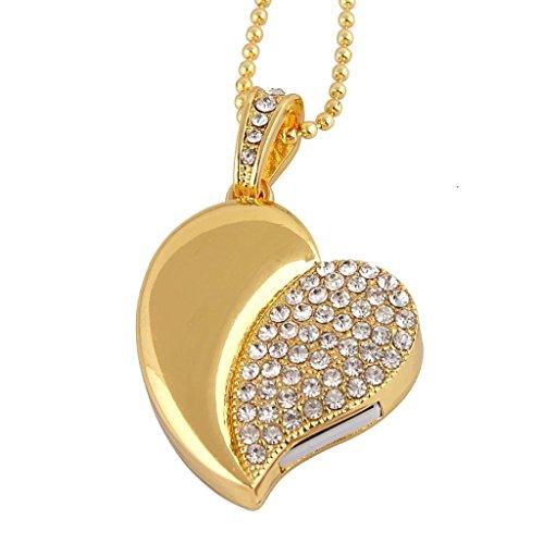 (WooTeck 32GB Rhinestone Metal Applanate Heart USB Flash Drive, Fashion Jewelry Bling Shiny Crystal Diamond pendant,with)
