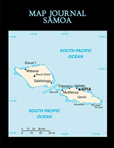 Samoa Map - Map Journal: Samoa: 150 page lined notebook/diary