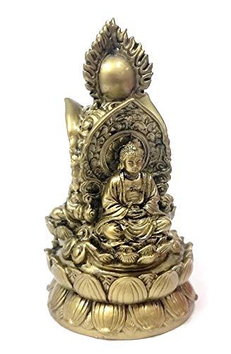 Bellaa 25334 Buddha Statue Dhyana Mudra Meditating 3 Body Trikaya Buddhism 7 inch