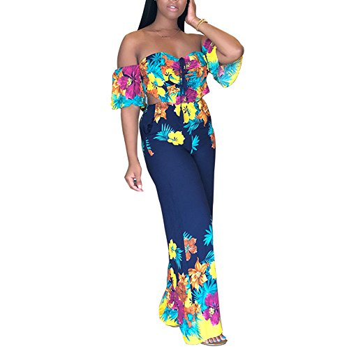 Womens Off Shoulder Floral Print Flare Bell Bottom Palazzo Pants Long Jumpsuits Romper Party Clubwear Dark Blue ()