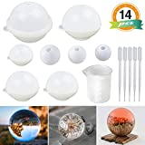 Sphere Silicone Resin Molds LET'S RESIN Round Silicone Mold, Epoxy Resin Ball Molds for Resin Jewelry, Soap Candle DIY, with Nonstick Silicone Mixing Cup