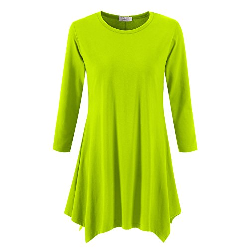 Topdress Women's Swing Tunic Tops 3/4 Sleeve Loose T-Shirt Dress Sprout Green 2X