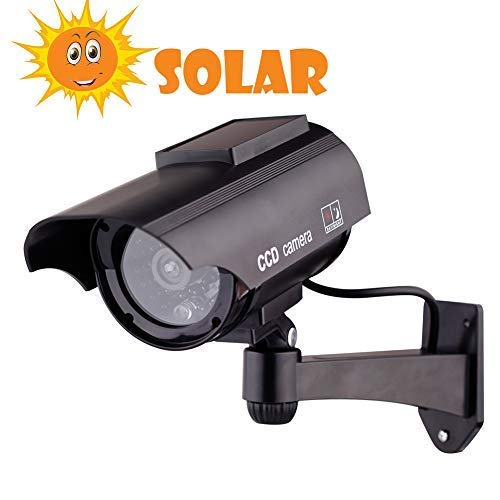 Nifeo Solar Powered Dummy Surveillance Bullet Fake Camera with Flashing Led-Grey Battery Recharged by Sun, Home or…