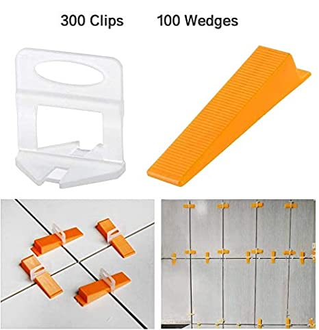 300-Piece Leveling Spacer Clips Plus 100-Piece Reusable Wedges Tile Leveling System DIY Tiles Leveler Spacers 1//16 Inch
