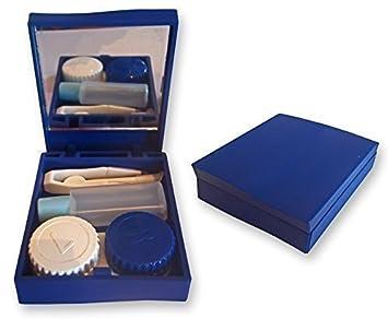 Set de Estuche Viaje para Lentes de Contacto ~ Espejo, Pinzas & Envase para Solución, Kit de Lentes (Azul)