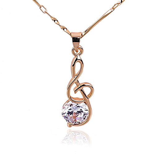 - NickAngelo's G Clef Music Note Pendant Necklace 18K Rose Gold Plated Elegant Fashion Jewelry (rose-gold-plated-copper, cubic-zirconia)