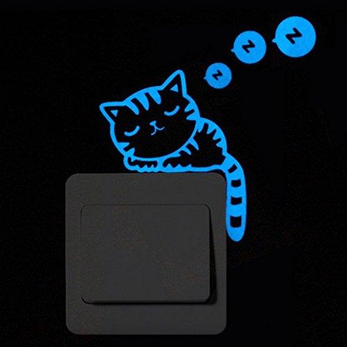 DEESEE(TM) NewDIY Cute Cat Luminous Wall StickersCartoon Switch Luminous Sticker Fluorescent Wall Sticker Removable Sticker Wallpaper Party Room Magnetic Home Decor (B) (Cloud Border Wallpaper)