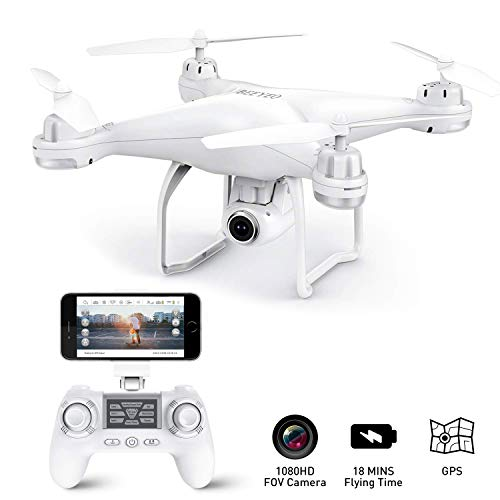 GPS Drone with Camera Live Video 1080P HD FPV RC Quadcopter Drones with Camera Follow Me Mode, Altitude Hold, Long Range Control, GPS Auto Return Home – BEEYEO White