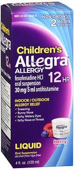 Allegra Children's Allergy Oral Suspension Berry Flavor 4 oz (Pack of 5) ()