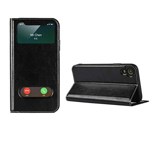 Jaorty iPhone XR Case,Ultra Thin Flip Cover Case Dual Window View with Foldable Kickstand Feature Folio Slim Luxury Premium Genuine Leather Phone Case for Apple iPhone XR,for Men Women,Black ()