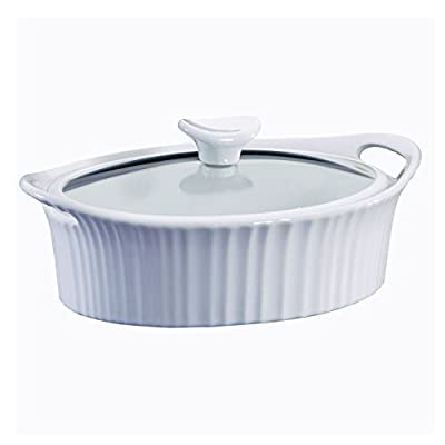 CORNINGWARE French White 1-1/2-qt Oval Casserole w/ Glass Cover
