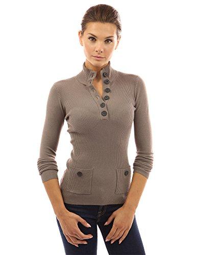 PattyBoutik Women V Neck Button Ribbed Sweater (Tan Medium)