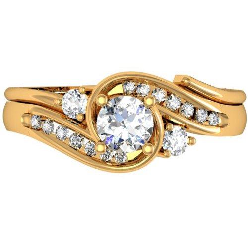 0.90 Carat (ctw) 14k Yellow Gold Round Diamond Ladies Swirl Bridal Engagement Ring Matching Band Set (Size 5)