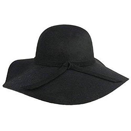 DIS Cappello da donna tesa larga da diva con fascia e nodo a fiocco in feltro di lana, stile Fedora Floppy Cloche (Nero)