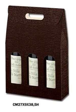 Cajas Vino de 3 botellas verticales, cartón marrón en relieve brillante, Paquete de 20