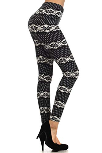 Leggings Depot Women's Ultra Buttery Soft Christmas Print Fashion Leggings (Midnight Snowland, One Size (S-L/Size 2-12))
