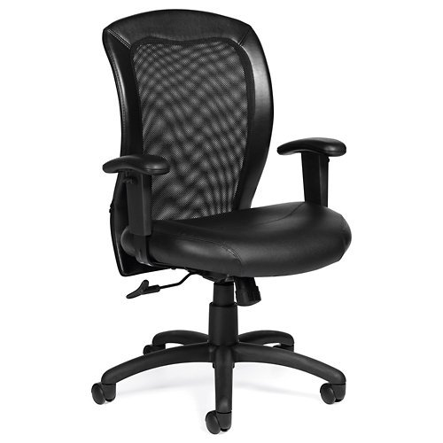 Ergonomic Chair, Mesh Back, Luxhide Seat, Black