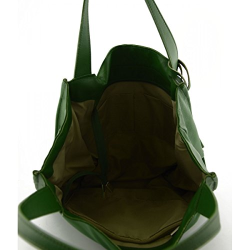 Borsa Shopper In Vera Pelle Con Ciondolo In Pelle Colore Verde - Pelletteria Toscana Made In Italy - Borsa Donna
