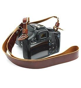 CEARI Premium Camera Leather Shoulder Neck Strap Belt for Canon Nikon Pentax Olympus Sigma Sony Fujifilm Casio Panasonic DSLR Camera + MicroFiber Clean Cloth - Coffee
