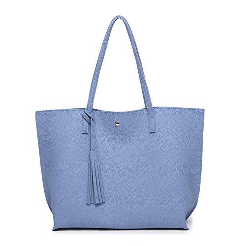 ZYXCC Ms. shoulder bag 2018 new tassel bag Korean fashion shoulder bag PU large-capacity handbag bag (Color : Light blue) (Large Styled Handbag)