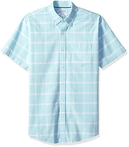 Amazon Essentials Men's Regular-Fit Short-Sleeve Pocket Oxford Shirt, Aqua Windowpane, Large