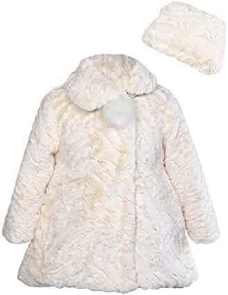 e8cf8d9af1ae Widgeon Big Girls' Button Front Faux Fur Coat, Textured Wave Dew with Hat,