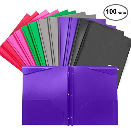 Case of 100 Pack, 12 pcs per Pack, Plastic folders with Pockets and prongs,Heavy Duty folders with brads (Box Plastic 100ct)