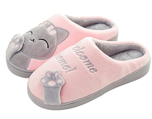 Cattior Womens Coral Warm Cat Slippers Scarpette Carine House Rosa