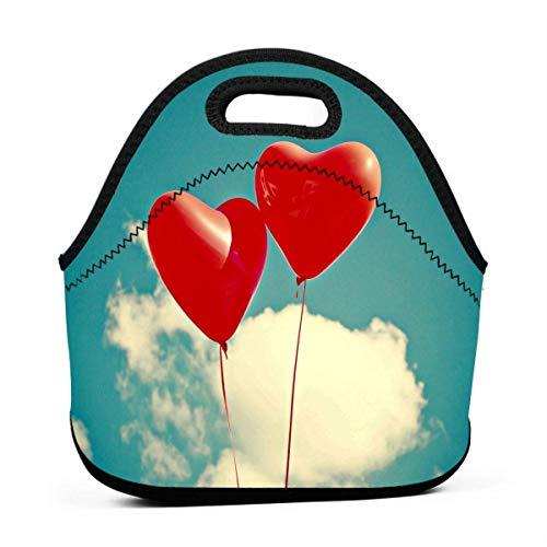 (Portable Lunch Bag Tote Red Balloon In Sky Neoprene Lunch Handbag Food Zipper Storage Lunch Box For Men Women Kids)