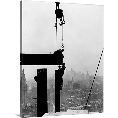 1930 Wall - Lewis Hine Premium Thick-Wrap Canvas Wall Art Print entitled Steel workers on girders at the Empire State Building in New York City, 1930 16