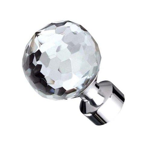 Curtains Ideas curtain rod crystal finials : TEZ® Crystal Glass Curtain Pole Finials - Clear Facet Cut Ball ...