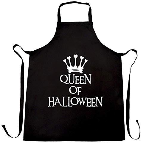 WEGOOAL Spooky Queen of Halloween Crown.Kitchen Cooking Aprons Bib Apron for Women Men Chef,BBQ Party Commercial Craft -