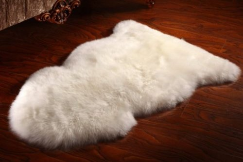 Large Luxury Quad 4 Pure White Sheepskin Rug 162x100cm
