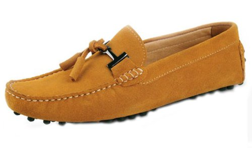(HAPPYSHOP(TM) Men's Suede Leather Tassel Slip On Loafers Drive Mens Car Shoes Moccasin Eur Size 38-45 (EUR 42, Earth Yellow))