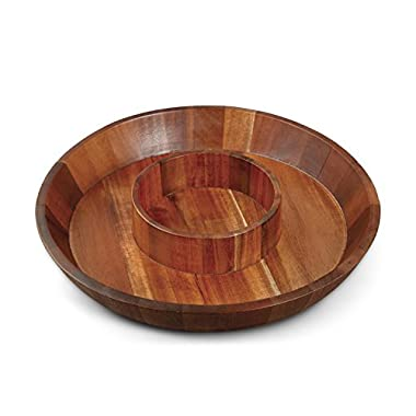 Gibson Home Natural Trends Chip & Dip Round Shape Acacia Wood Tray, 12 x 2 , Brown