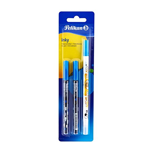 Pelikan Set 2 x ink pen Inky blue 273 + ink eradicator Super Sheriff Made in Germany & imported from Germany!