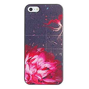 DUR Red Flower Pattern PC Hard Case with Black Frame for iPhone 5/5S