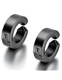 Flongo Men's Womens Unisex Stainless Steel Non-Piercing Cartilage Stud Clip On Round IP Hoop Earrings