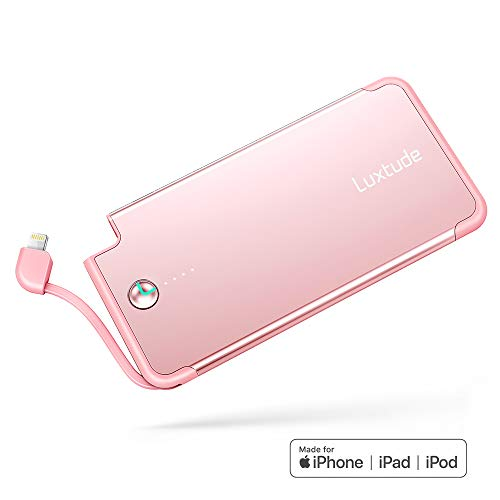 Pink Iphone Jacket - Luxtude PowerEasy 5000mAh Ultra Slim Portable Charger for iPhone, Apple Certified Power Bank with Built in Lightning Cable, Fast Charging External Battery Pack for iPhone and iPad (Rose Gold)