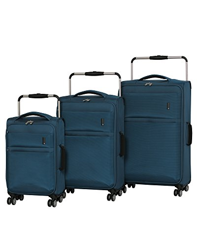 it luggage World's Lightest Debonair 3-Piece Set 8-Wheel Spinner, Two Tone Blue