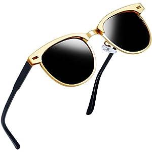 Joopin Semi Rimless Polarized Sunglasses Women Men Retro Brand Sun Glasses (Gold Metal Frame, as the pictures)