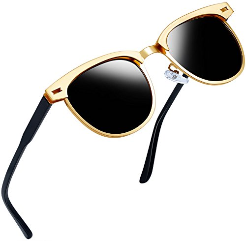Joopin Semi Rimless Polarized Sunglasses Women Men Retro Brand Sun Glasses (Gold Metal Frame, as the pictures)