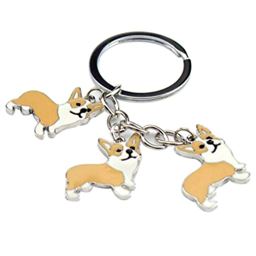 Metal Key Ring Corgi Dog Puppy Toy Keychain Figure Animal Emulational Birthday Christmas Keychain